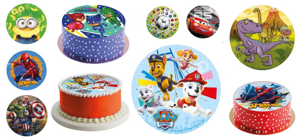Kage til drengefødselsdag, Sukkerprint til drenge fødselsdag, fødselsdag for dreng, børnefødselsdag kage, kage med motiver itl drenge fødselsdag, Paw Patrol kage, Spiderman kage, Fodbold kage