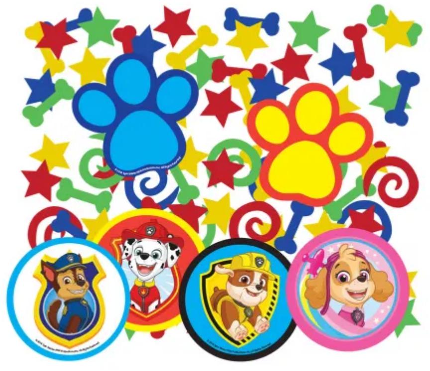 Fødselsdags konfetti, konfetti til børnefødselsdagen, Paw Patrol fødselsdags pynt, pynt til fødselsdagen