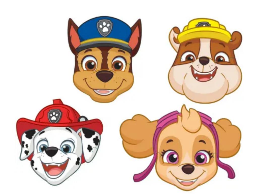 Paw Patrol masker, masker med hundene fra Paw Patrol, børnefødselsdag, fastelavns masker, masker til fastelavn