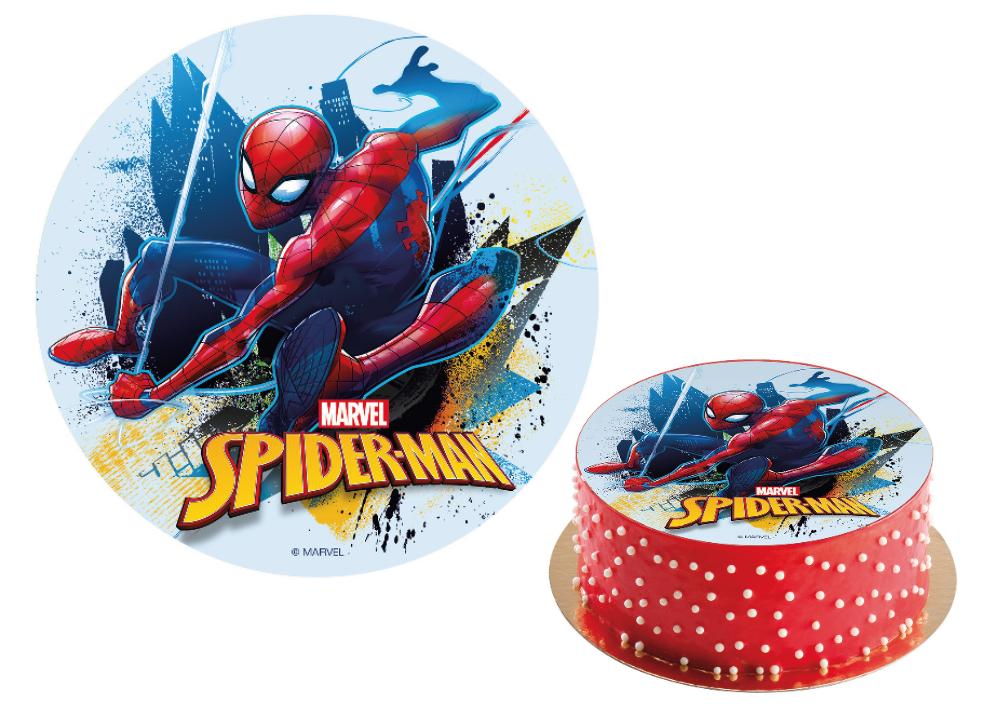 Spiderman kage, nem kage med Spiderman, Superhelte fødselsdag, Fødselsdag med superhelte, Vaffelprint med Spiderman, Sukkerprint med Spiderman