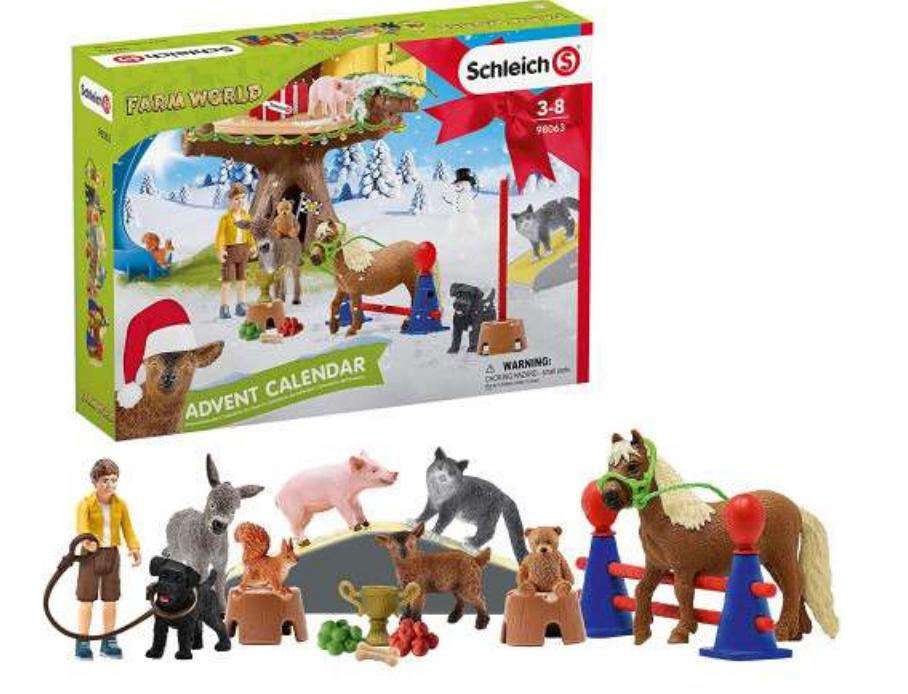 Julekalender med bondegårds dyr, bondegårds dyr julekalender, julekalendere til drenge, 2021 julekalender med legetøj, legetøjs julekalender