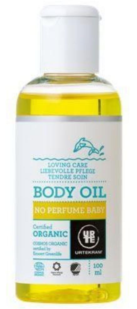 urtekrams krops olie, Urtekram baby olie, baby olie fra urtekram, økologiske produkter til babyer, baby økologiske produkter